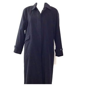 Anne Klein Black Trench Coat Size 12 Petite